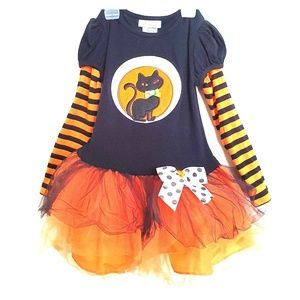 Bonnie Jean Girls Halloween Cat Stripes tutu dress